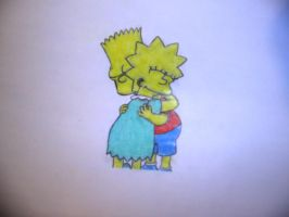 Bart and Lisa r getting a hug by Shagggy1987