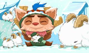 Teemo with some adorable Poros by BlitzRunner