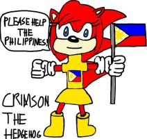 Please Help The Philippines - Crimson The Hedgehog by tanlisette