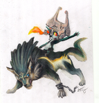 Wolf Link and Midna by questrmwindow