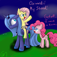 fluttershy and luna and pinkie pie! by Greeny-Nyte