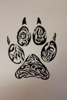 Wolf Paw Tribal Tattoo by WolfBaltoDog