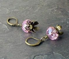 Pink flower earrings by elderarc