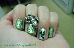 Slytherin Nails by herepiggiepiggie333
