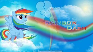 Rainbow Dash: Above the Clouds Wallpaper by BlackandNerdy