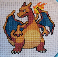 Charizard Pokemon Cross-Stitch SOLD! by lizardlea