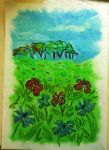 Oil Pastels: Meadow by kxeron