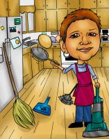 Kitchen caricature by raccoon-eyes