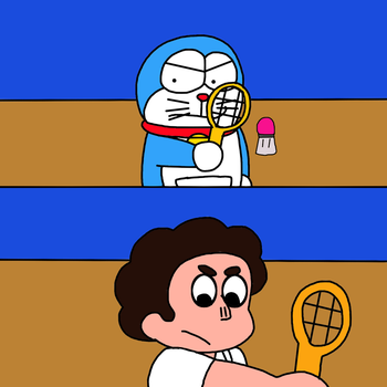 Doraemon and Steven Universe playing Badminton by MarcosPower1996