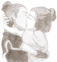The Sokka and Suki Kiss by TophsAwesome