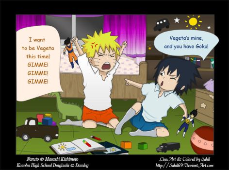 NaruSasu Fight over Vegeta by Sahil69