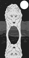Wolf Reflection Lineart by WhiteWolfCrisis13