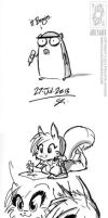 B3TA Drinkie Doodle Sketches 01 by jollyjack