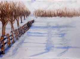 Watercolour snow scene by traveling-adventurer