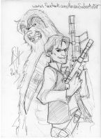 Han and Chewie sketch by scarecrowhassan