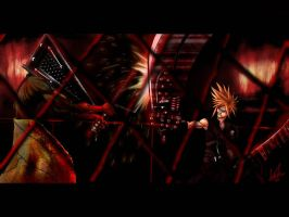 Cloud vs. Pyramid Head by darkeblue