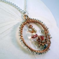 Beaded Copper Pendant by bugsandbears