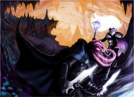 drow vs mind flayer by laclillac