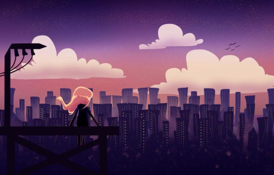 Daily spitpaint   Watching over the city by AlivBonano