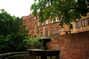 Heidelberg Castle - Fountain and frontage by steppelandstock