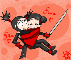 Pucca-Garu: Your cheeks are so fluffy! by 0-MermaidRibbon-0