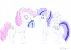 princess twilight and pinkie by pegasister333