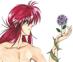 Kurama with a Rose by Gillmon