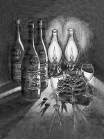 Wine Bottles and Grapes by ramojo