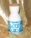 Lon Lon Ranch Milk Bottle Hand Painted Ceramic Sm by TorresDesigns