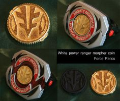 White Power Ranger morpher coin by Mace2006