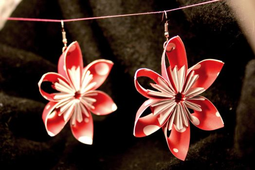 Large Red with White Polkadot Paper Flower Earring by SmexySarah