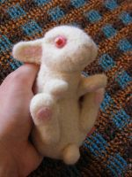 Needle Felted White Rabbit by CVDart1990