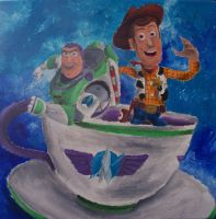 Buzz and Woody in Tea Cup by billywallwork525