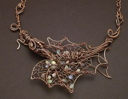 Flower Dragon Necklace by WiredElements