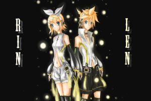 Len and Rin Kagamine (finished) by vlewis123