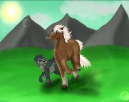 AT - Wolf Link with Epona by Clopina
