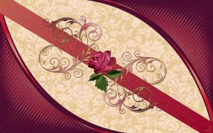 Rose N Gold Deco on Claret by kabegami