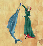 Mary Anning and her Ichthyosaur by Pelycosaur24