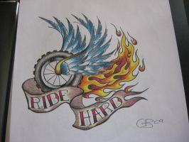 Ride Hard wheel and flame by IAteAllMyPaste