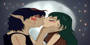 Cecil and Zavria~ The kiss Colored by LevairAmeliaRivaille