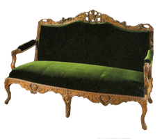 Green velvet loveseat by jinifur