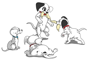 The Four Main Pongo Pups by Cattensu