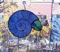 Stained Glass Ammonite Suncatcher by trilobiteglassworks