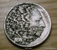 Hobo Nickel Greenman Engraved Coin by Shaun Hughes by shaun750
