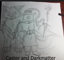 Caster the dice mage and Darkmatter his mount by TatterTotMinion