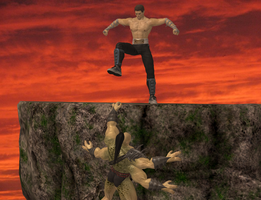 Johnny Cage and Goro by dim1988