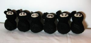 Ninjas of many faces - crochet by LunarJadeStyles