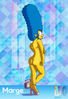 Pinup Girls - Marge Simpson Nude Pose 2 by Chesty-Larue-Art