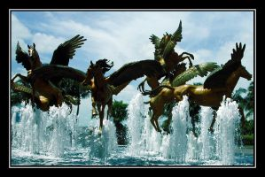 Flying horses over water by carepa