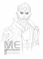 Thane Lineart, gift commission by ellieshep